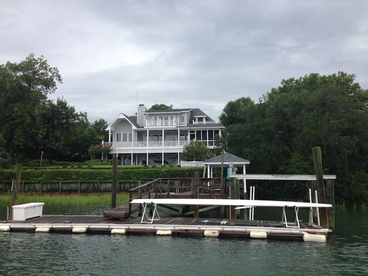 Privacy, lovely waterfront vista, designer home