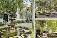 A communal courtyard offering welcoming character and the leafy appeal of silver birches. A tranquil place to sit and gather your thoughts or grab some fish and chips and a beer or a cheese platter and a bottle of vino and enjoy this beautiful space.