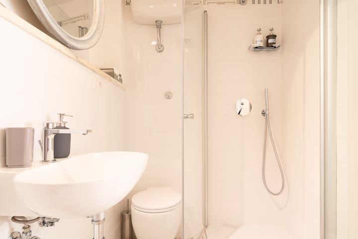 Bagno con doccia- interno alla camera