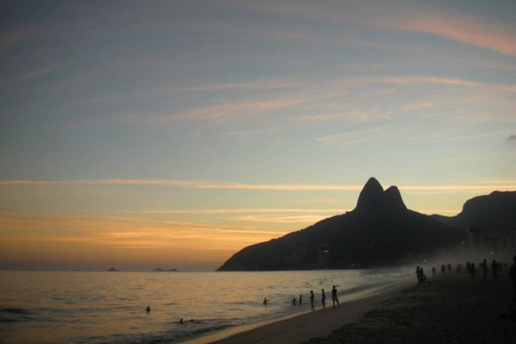 Ipanema Beach and the mountains