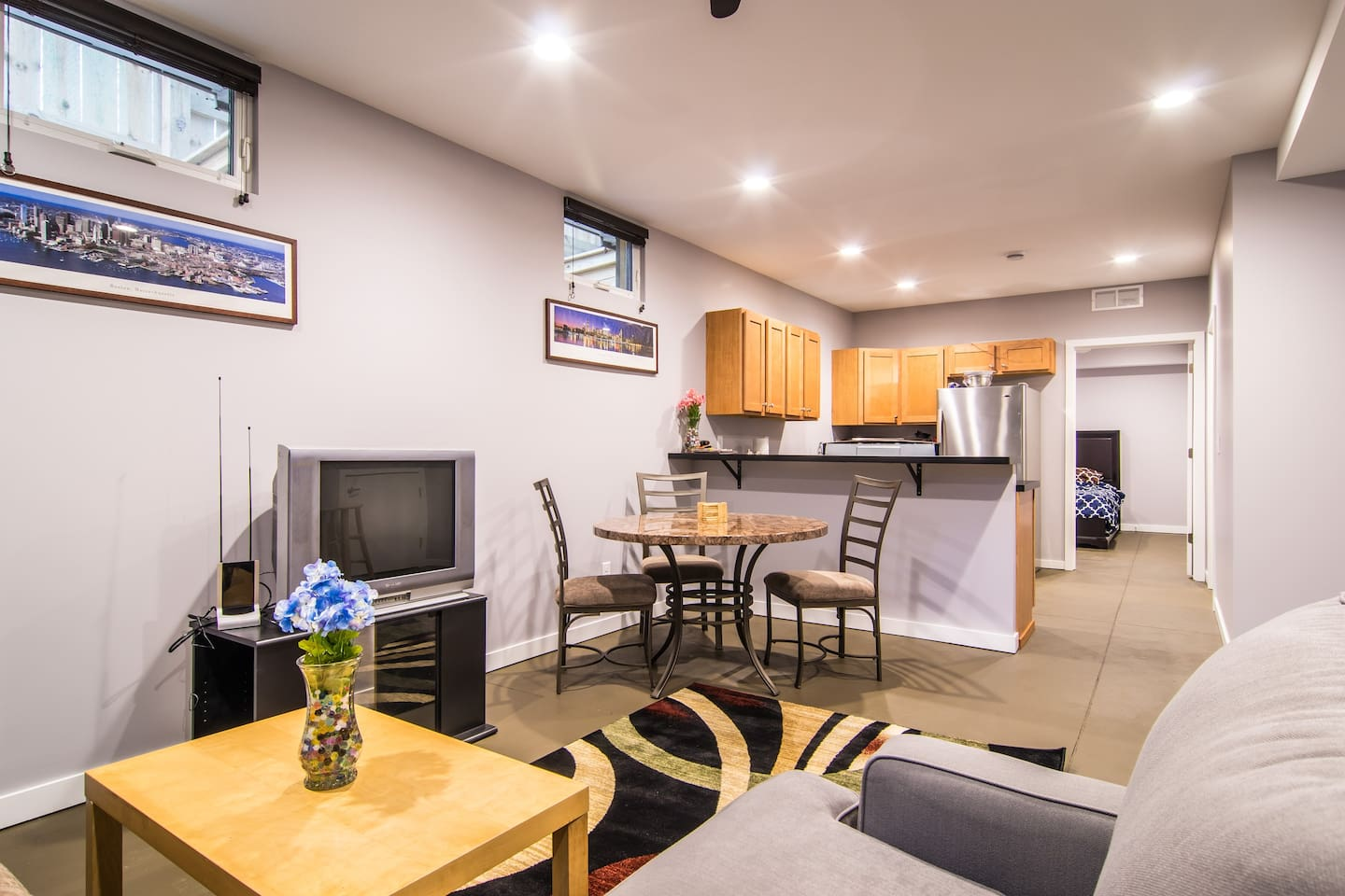 Spacious living area, open floor plan (TV has been updated since the picture!)