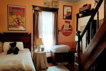 There's a vintage toy & tobacco theme in the 2nd guest bedroom with a display of old trains, toy cap guns. Winston Salem is the home of R.J. Reynolds, a tobacco company founded in 1875.