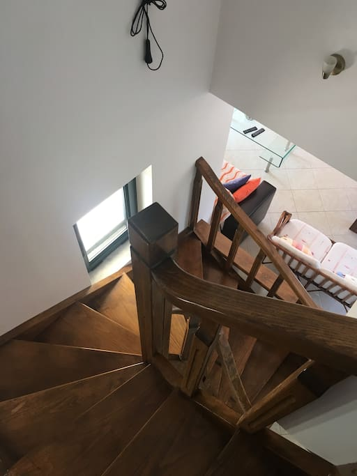 Wooden stairs to the down floor