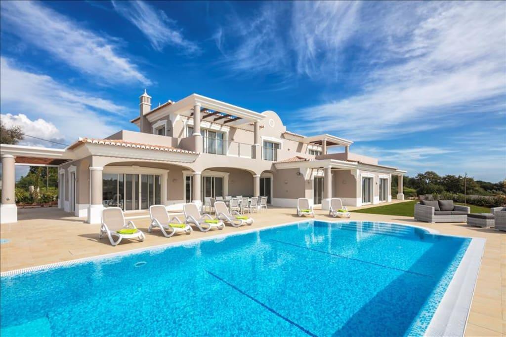 Pool terrace view of villa