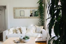 West elm sofa, abc home pillows, olde good things mirror, Buddha picked up in Burma