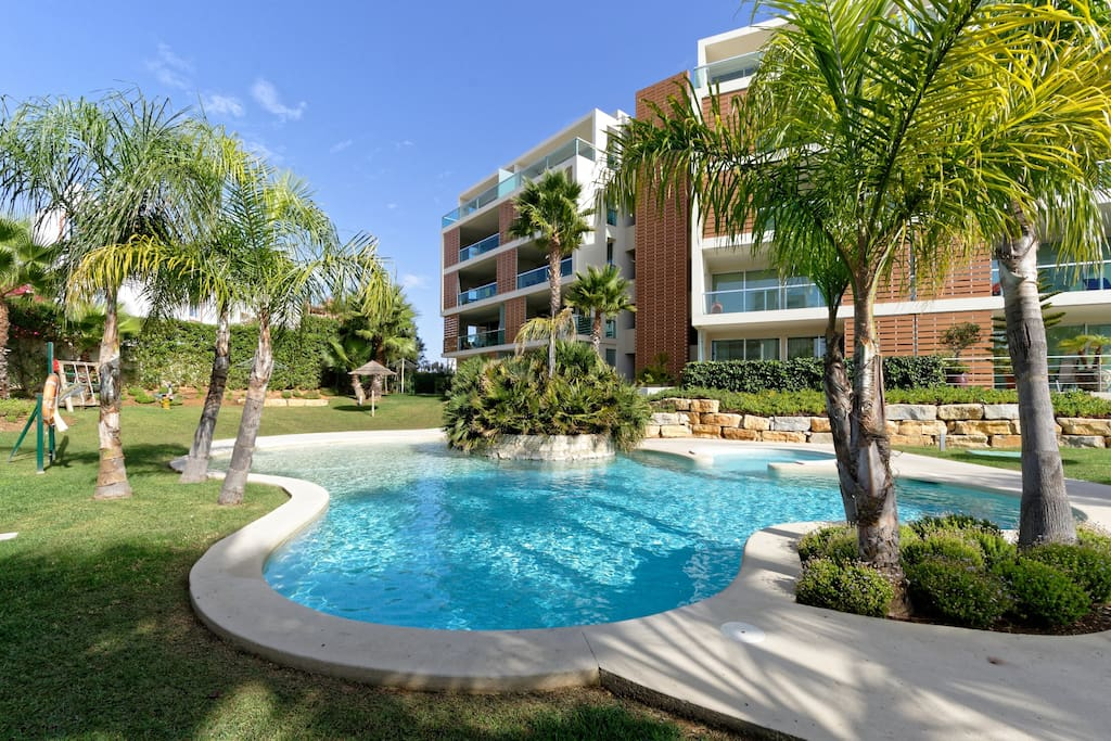 View of the beautiful pool and garden area