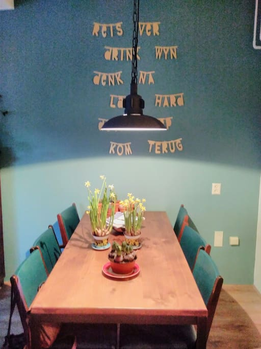 Enjoy dinner at the large table in the living room
