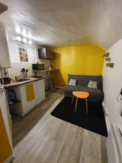 Dans la pièce de vie vous trouverez le canapé lit BZ, la cuisine ainsi que le coin bar