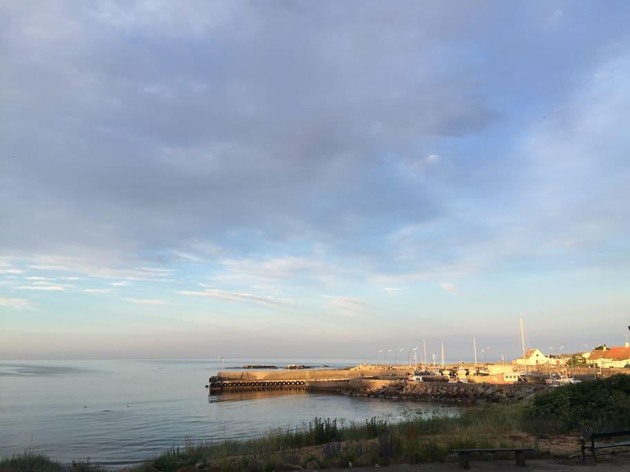 Årsdale havn set fra huset