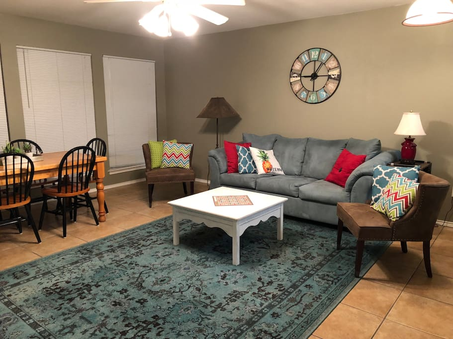 Comfortable new sleeper sofa and sitting area to enjoy with friends or watch the large tv with cable channels or use DVD player. Dining table seating for 6, overlooking the park and balcony. Perfect for card games or enjoying a nice meal.