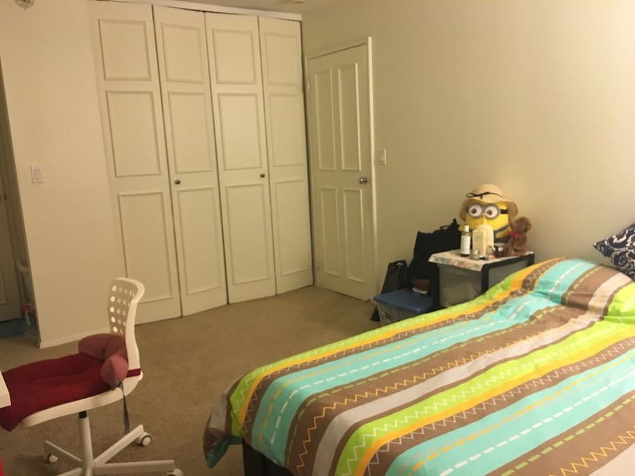 The room is spacious! And you will have a large closet as well.