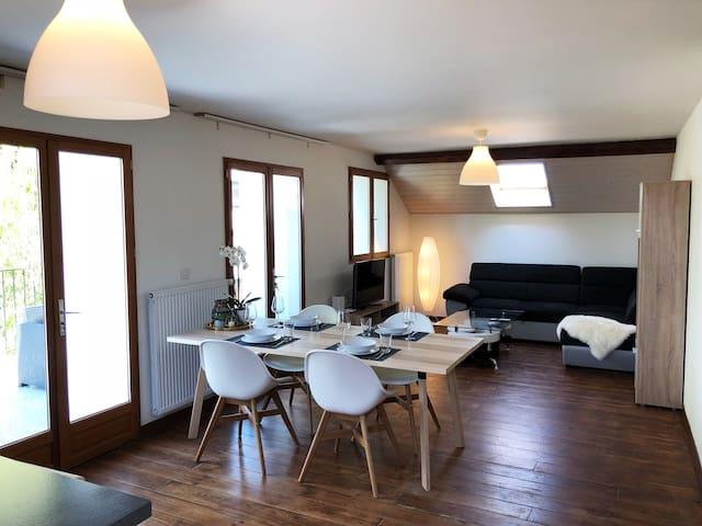 Sunny and modern 2floors flat in Geneva