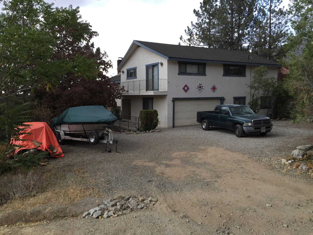 Our home is the 3rd house on the left on Encino trail. The front door has a green light.