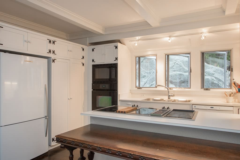 Cooks' eye view: Fisher & Paykel fridge, microwave and wall oven, buffet table, 4 sealed electric burners and a griddle, All Clad pots and pans, Grohe spray faucet, double sink, dishwasher. Pantry stocked with spices. View of The Rock.