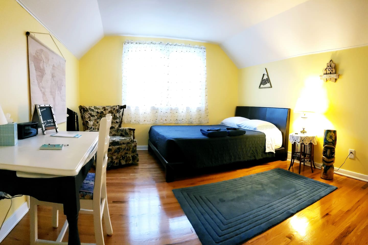 *Spacious and clean room with a European queen, table top desk, and wifi for laptop use.