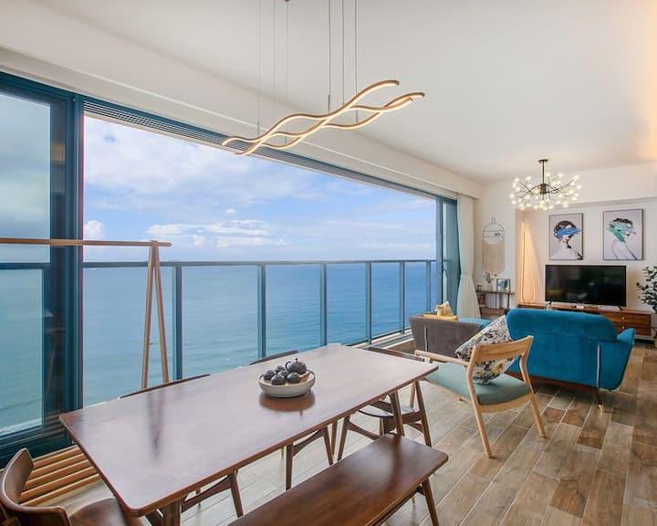 【万科双月湾·楼王】正海两室一厅云端海景房  北欧风格  欢迎预定!
