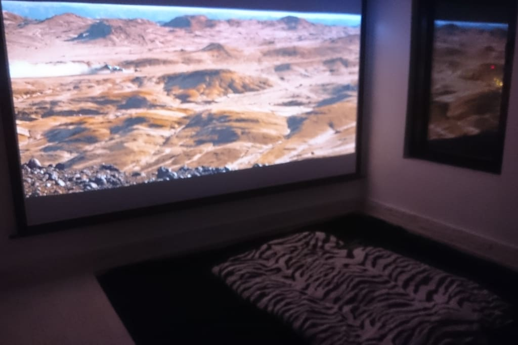 LED Projector 200 cm - master bedroom at night