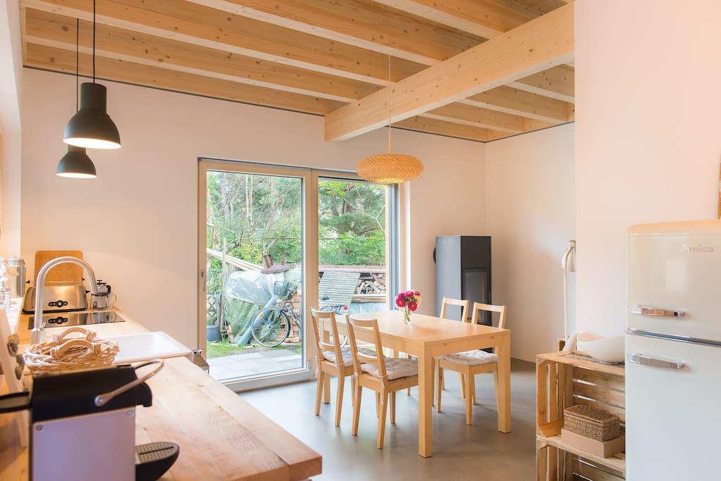 ferienhaus hinterm strand mit kaminofen und sauna h user zur miete in dierhagen mecklenburg. Black Bedroom Furniture Sets. Home Design Ideas