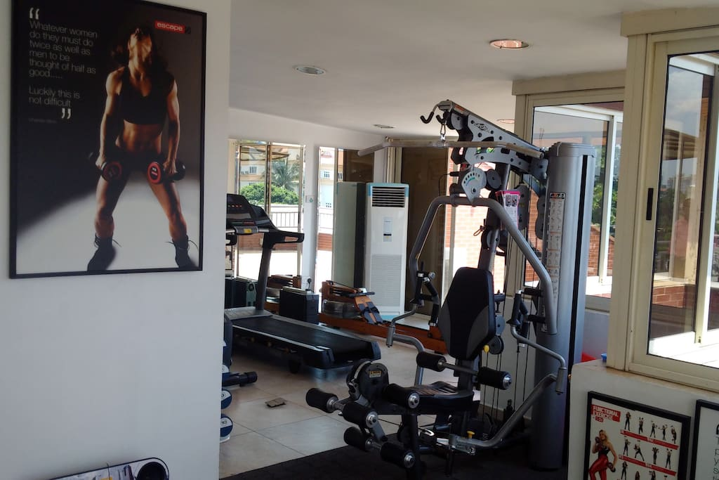 Airconditioned Gym on Roof terrace of LRR.  Great views whilst you work out!