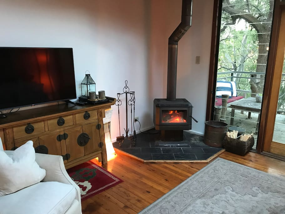 Cosy winter fire place