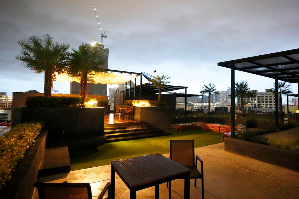 Sitting area at roof top garden