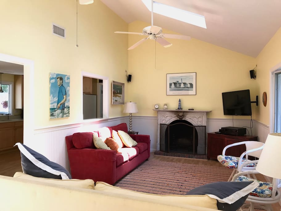 Large living room with fireplace- perfect for family time