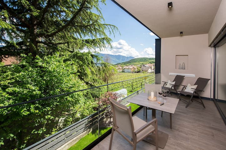 "Modern Apartment ""App. Lagrein"" with Mountain View, Wi-Fi, Garden, Pool, Sauna & Jacuzzi; Parking Available"