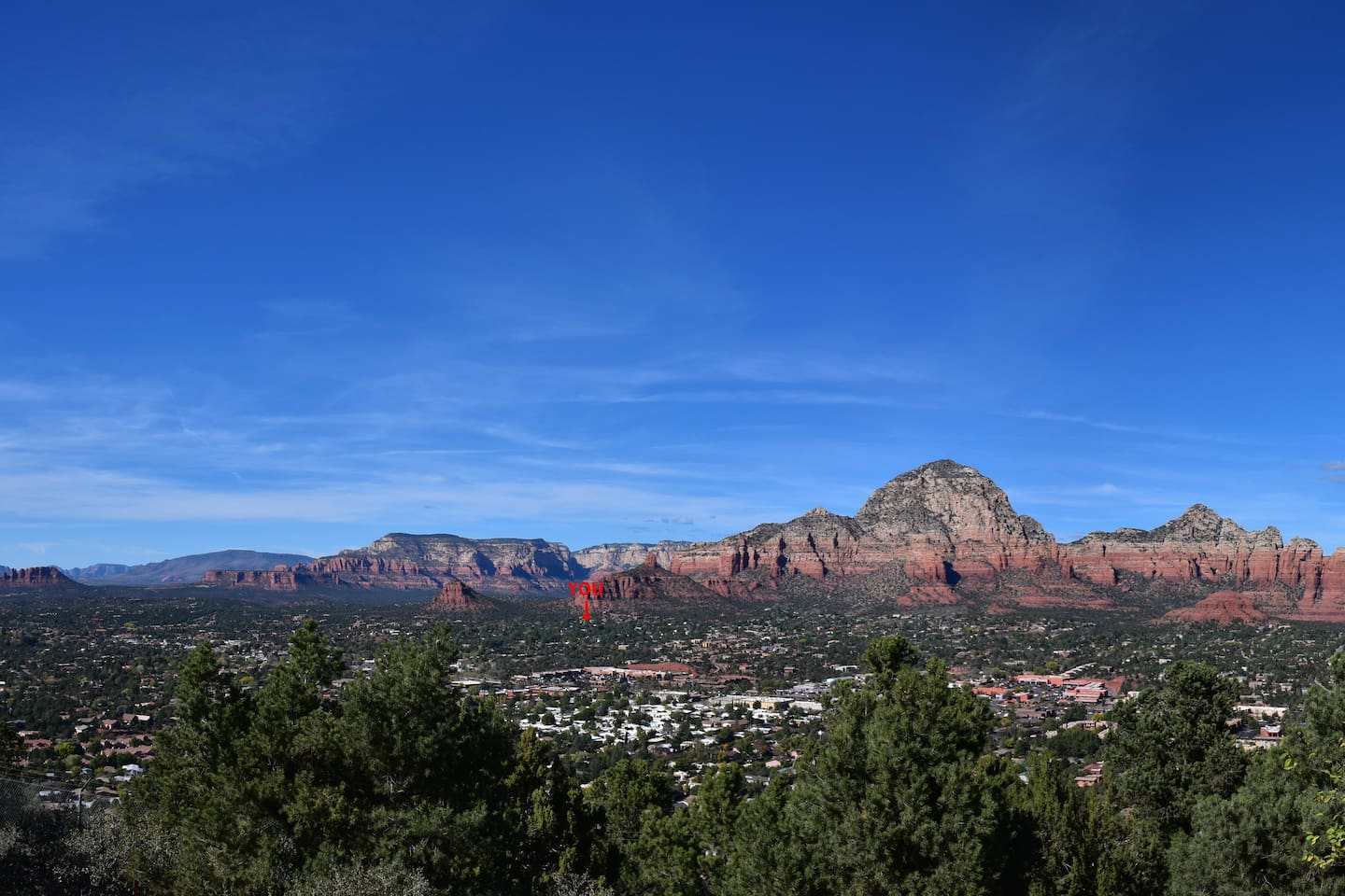Our apartment is at the base of Thunder Mountain and Chimney Rock right beside Thunder Mountain trailhead. The red spot indicates the location of our apartment - you cannot get any closer to Sedona's beauty :)