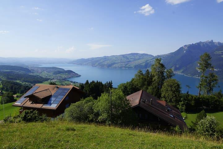 Berghaus mit Thunersee