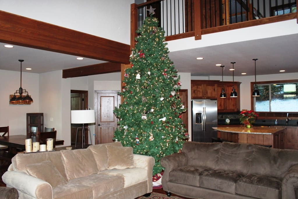 12 foot Christmas Tree with kids friendly forest critter decorations.  Tree is up during the whole Snowy Season.