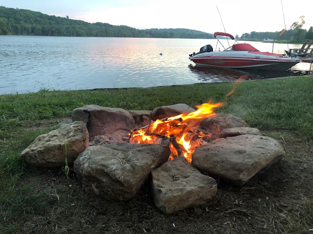Fire pit with great sunset views!