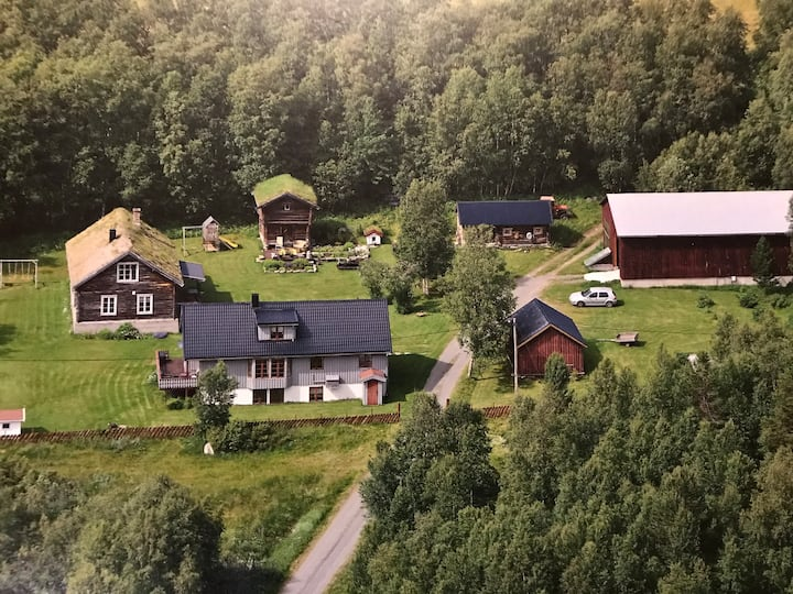 Idyllisk tømmerhus på gårdstun