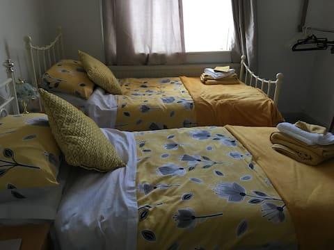 Lovely twin room , near Glastonbury high street