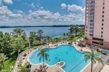 Amazing lake and pool views from the balcony