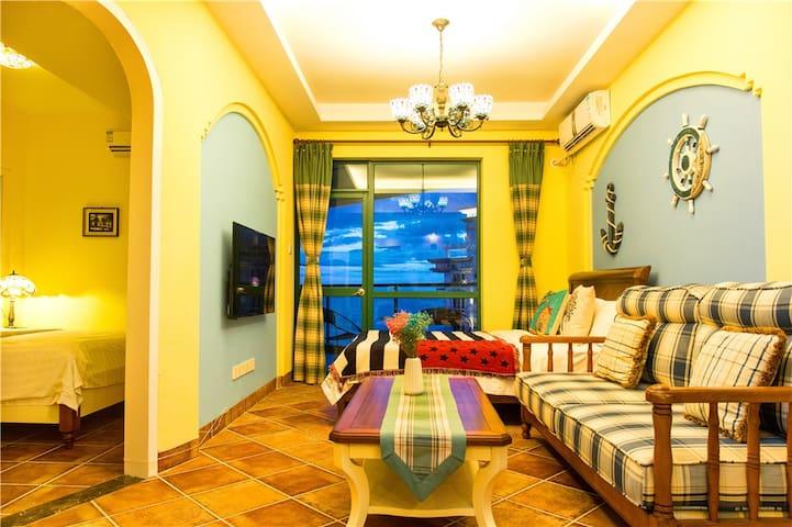 【海边的地中海】三亚海景一室一厅套房,出小区海滩,近机场动车站、椰梦长廊、南山寺、天涯海角