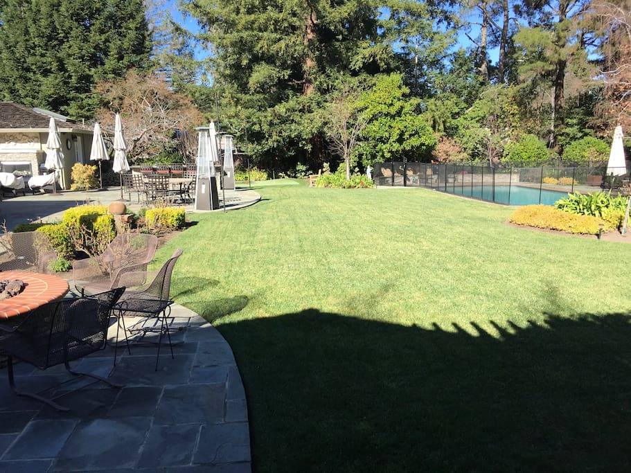 View of your garden. Fire pit, bar, pool, putting green, hot tub.
