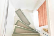 Another view mid-stairs. Please note the 90 degree turn within 5 steps.
