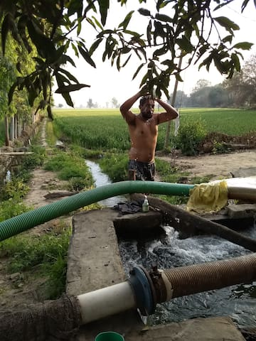 Its 5 degree Celsius outside and one can still take bath as the water from tubewell is most pure thing and warmer than outside.