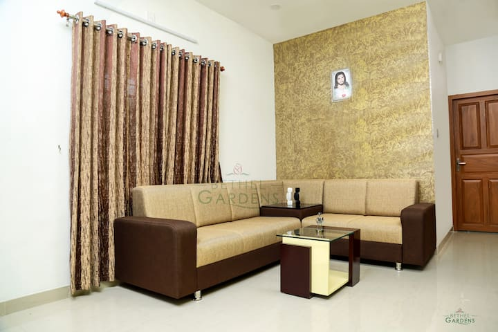 Spacious living hall with a graceful and comfortable sofa