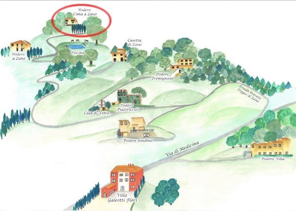La pianta della Collina di Zano che ospita i poderi