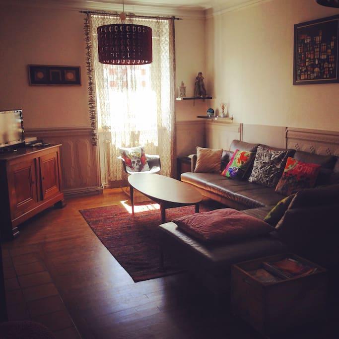Salon avec grand canape