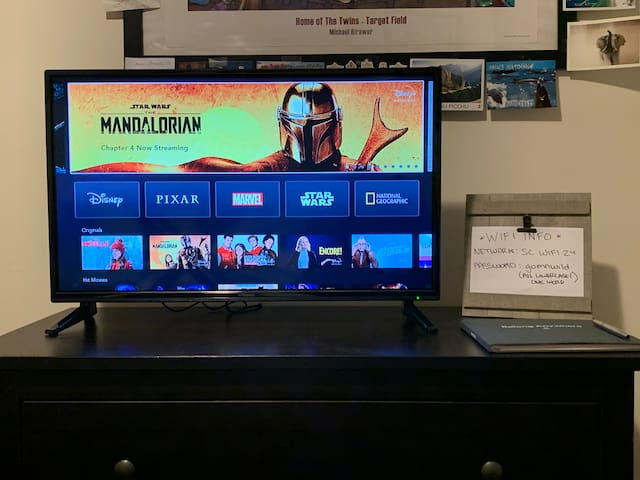 In-room TV with numerous streaming services including Netflix, Hulu with Live TV, HBO No, Prime Video and Disney+.