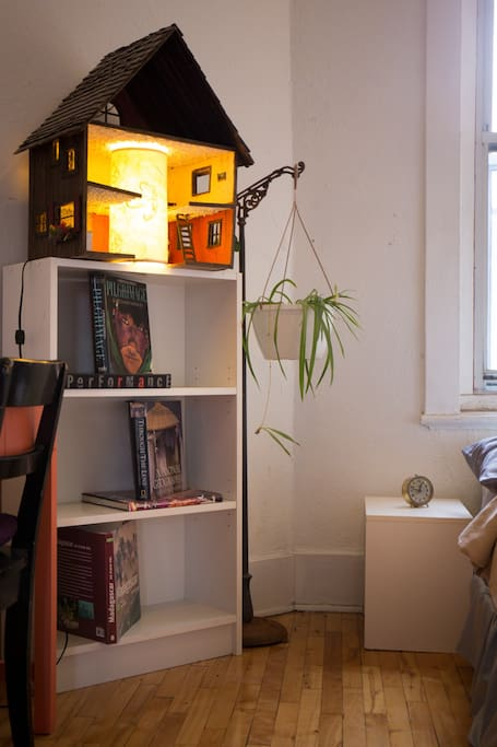 A unique bedside lamp, with some of my favourite photo books as bedtime reading.