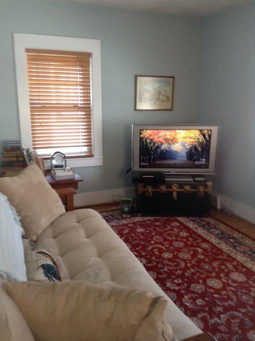"""Living room (futon sofa ).  42"""" TV"""