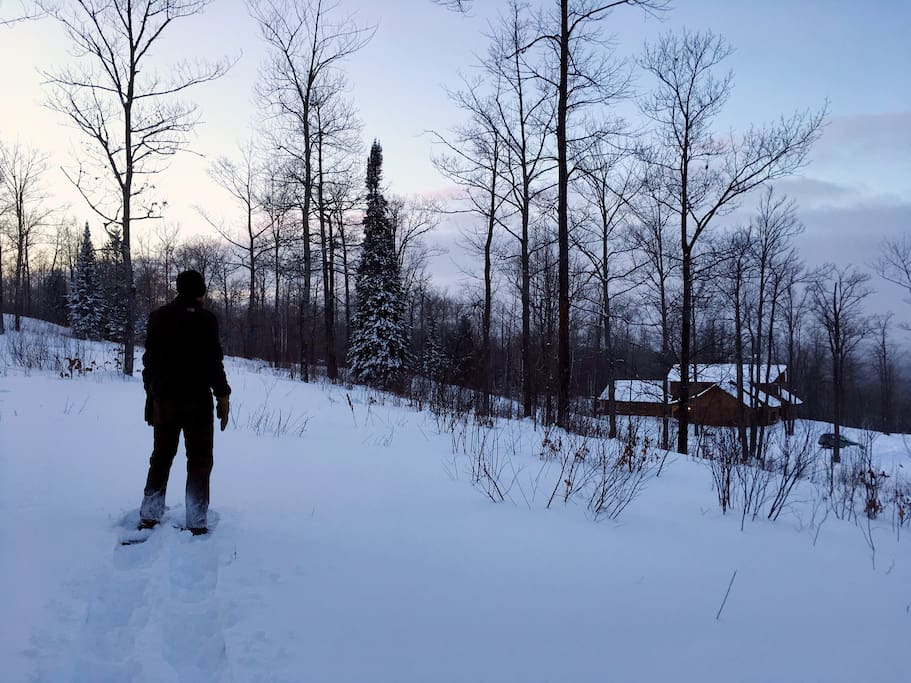 Snowshoeing on trails overlooking the Inn