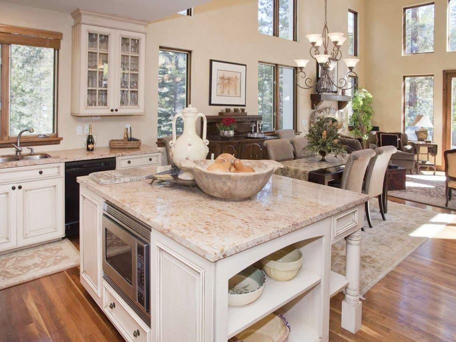 High-end stainless steel appliances, including a dishwasher and wine fridge. A starter supply of dish soap and paper towels are provided for your convenience.