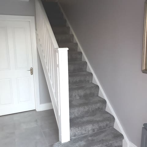 hallway and stairs.. no shoes on stair carpet please