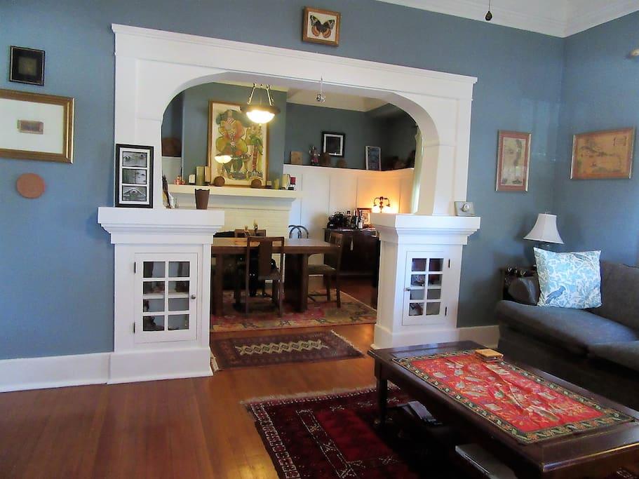 Living room has Craftsman details