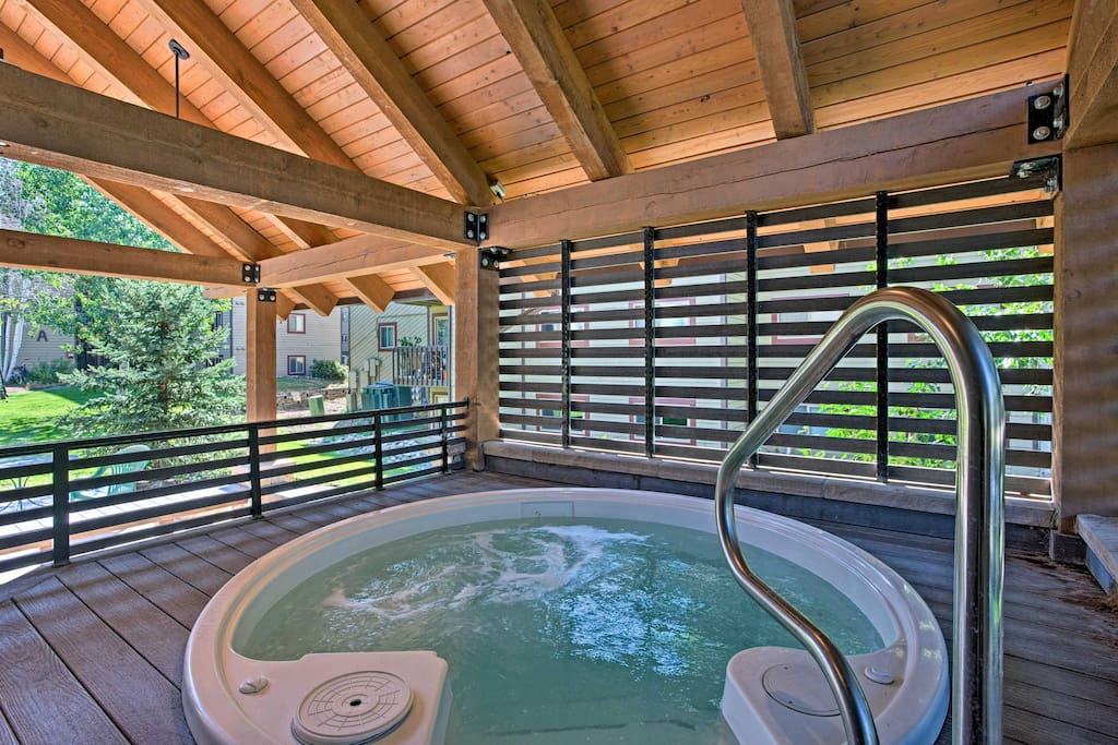 Relax your aching muscles in the community hot tub.