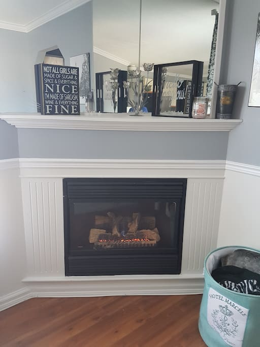 Cozy up to the gas fireplace!